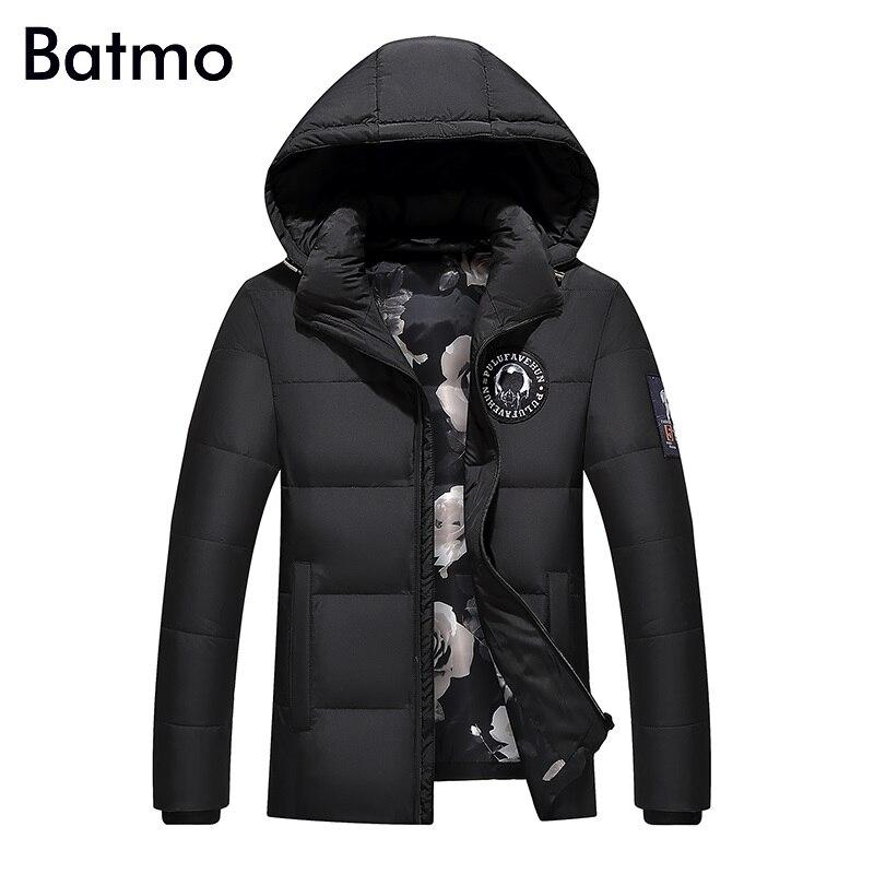 Batmo 2017 new arrival high quality white duck down black hooded jacket men,winter coat men,Windproof,1688