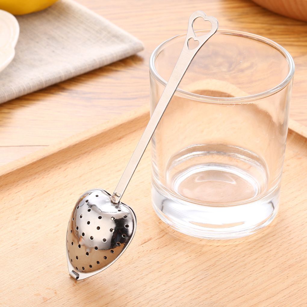 2020 Newest Kitchen Drinkware Heart Shaped Stainless Steel Tea Infuser Spoon Strainer Steeper Handle Tea Filter
