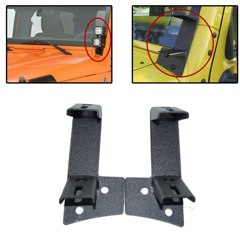 Pair A-pillar Bar Holder Mounting Brackets For 07-18 Jeep Wrangler JK 2 Door 4DR Dual Work Light