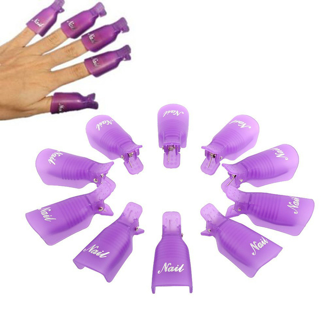 GUJHUI  10PCS Plastic Nail Art Soak Off Cap Clip UV Gel Polish Remover Wrap Tool Nail Art Tips  for Fingers Purple  High Quality