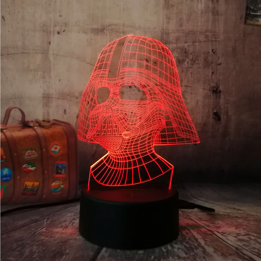 Amroe Star War figure Darth Vader 3D Led 7 color Sleeping Night light Touch senser USB Table Illusion Mood Dimming Lamp lustre amroe 3d illusion love heart led lamp