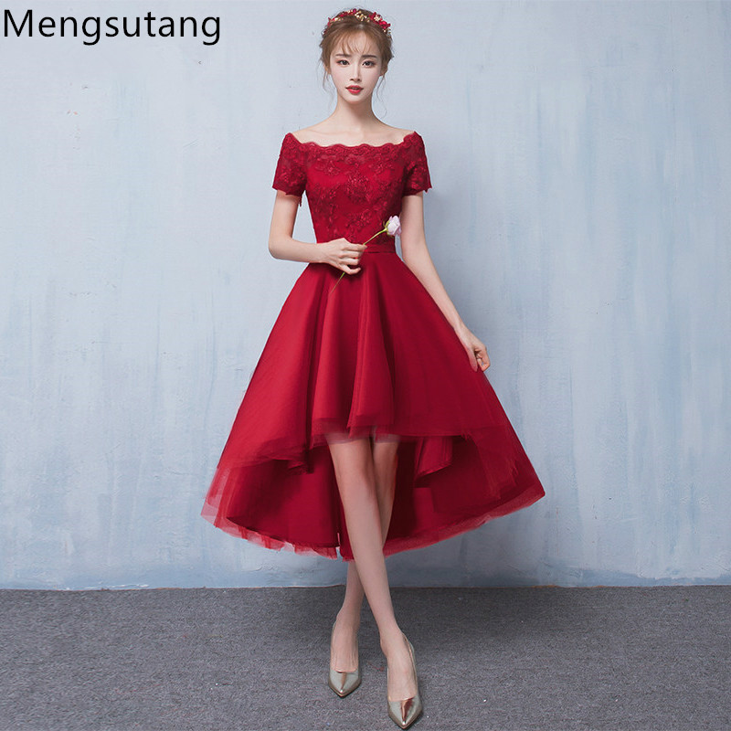 Robe De Soiree 2019 New Arrival Wine Red Lace Up Evening Dress With Appliques Party Dresses Prom Dresses Tailor Custom Made