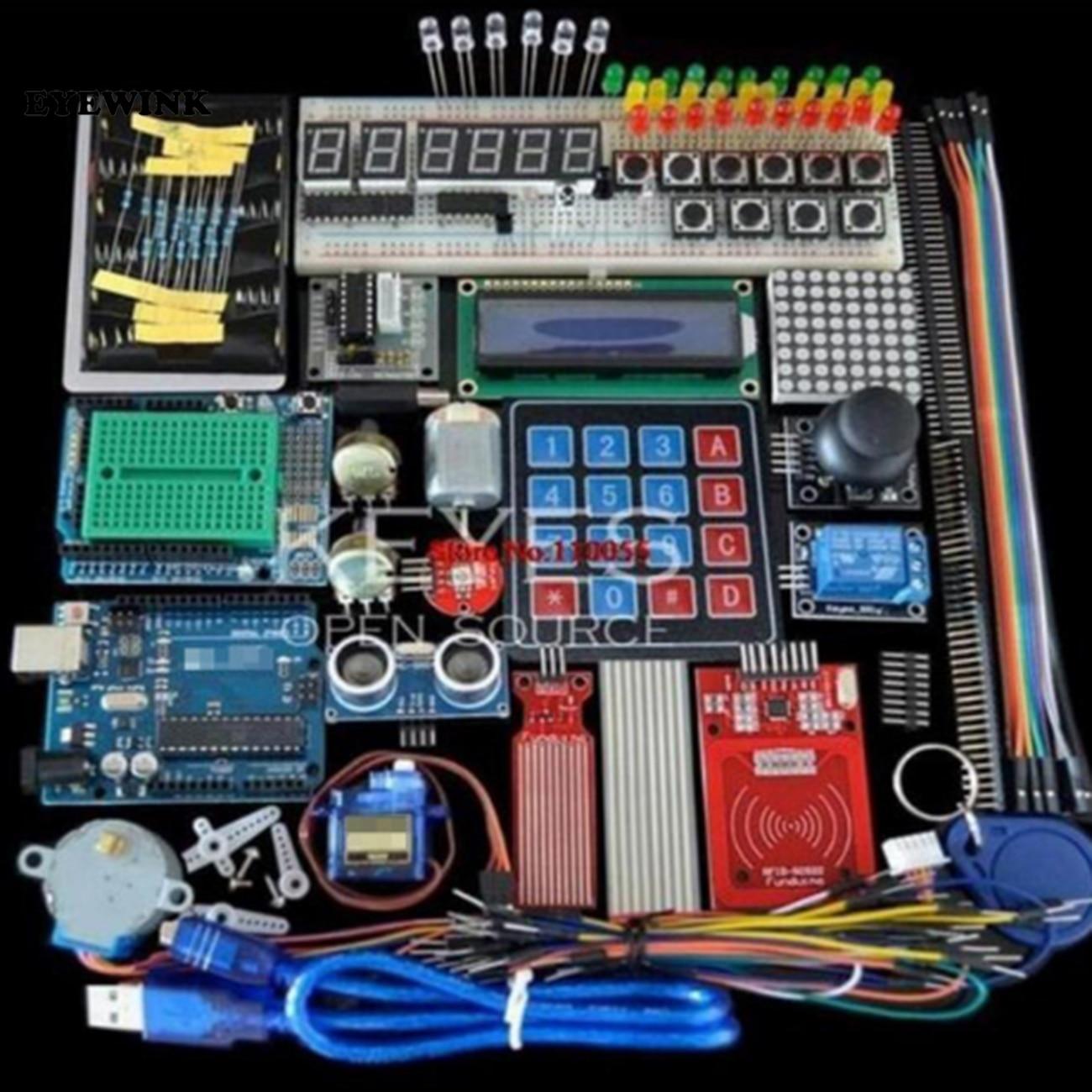 US $20.34 14% СКИДКА|Стартовый набор для Arduino Uno R3 Uno R3 макетная плата и держатель шаговый двигатель/сервопривод/1602 LCD/перемычка провода/UNO R3|Интегральные схемы| |  - AliExpress