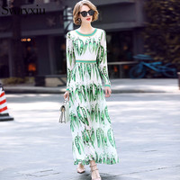Svoryxiu 2018 Runway Designer Beach Long Dress Women's Long Sleeves Pea Printing Holiday Party Boho Maxi Dresses