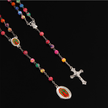 New 6mm religious soft ceramic beads soft clay rosary Catholic necklace charm pearl color. Guadalupe necklace. 48 pieces