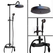 Black Oil Rubbed Bronze Wall Mounted Single Handle Bathroom Rain Shower Faucet Set W/ Handheld Shower Head ars728 wall mounted 8 in shower faucet bathroom ceramic handheld single handle hot
