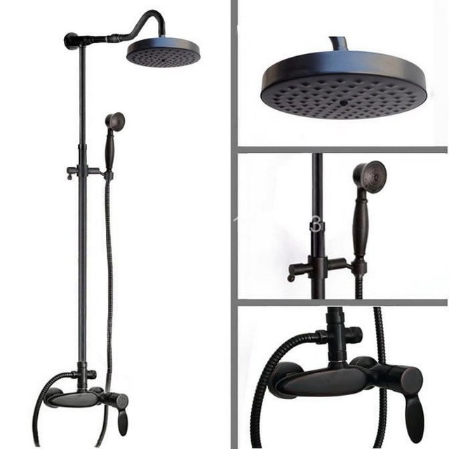 Black Oil Rubbed Bronze Wall Mounted Single Handle Bathroom Rain ...