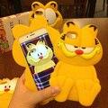 2015 nova moda 3D de borracha de Silicone dos desenhos animados Garfield gato caso capa para o iPhone 6 6 S 6 Plus para iPhone 6 S 5 5S