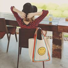 Canvas and leather smile face print shoulder bag big space fashion young lady funny cute handle bag rainbow stripe messenger bag
