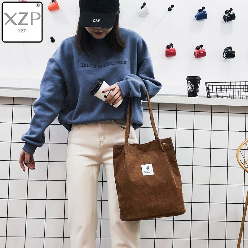 XZP High Capacity Women Corduroy Tote Ladies Casual Solid Color Shoulder Bag Foldable Reusable Women Shopping Beach Bag