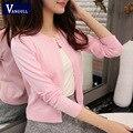 2016 de la alta calidad del otoño del Resorte suéter de las mujeres chaqueta de punto suéter de color Sólido Un botón de las mujeres