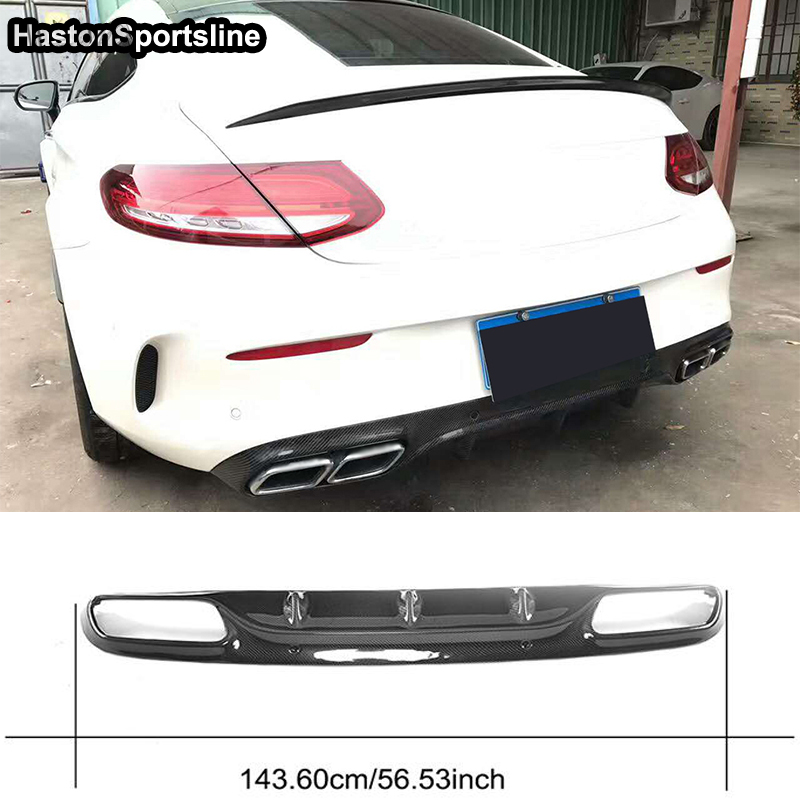 Origina Style W205 C205 C63 AMG Coupe 2Door Carbon Fiber Rear Bumper Diffuser For Mercedes Benz 2015~2018 image