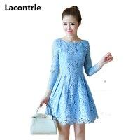 Lacontrie 2017 Spring New Women S Korean Style Lace Dress Long Sleeved Slim Women Office Dress