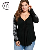 GIYI Plus Size 5XL Floral Print Long Sleeve Blouse Shirt Women Peplum Autumn 2017 Sexy V