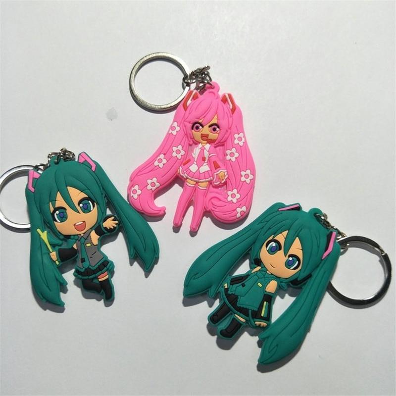 New Hatsune Miku Figures Toys Kawaii Japan Anime Onion Sakura Miku PVC Keychain Keyring Key Bag Pendant Dolls 10pcslot (1)