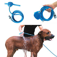 New Pet Bathing Tool Blue Combination of Shower Sprayer and Scrubber High Quality