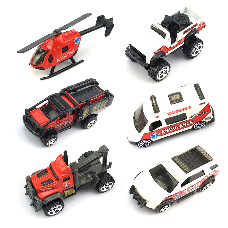 6Mixed-Alloy-Ambulance-Truck-City-Series-1-64-Diecast-Hot-Wheels-Car-Model-Collections-Metal-Jeep
