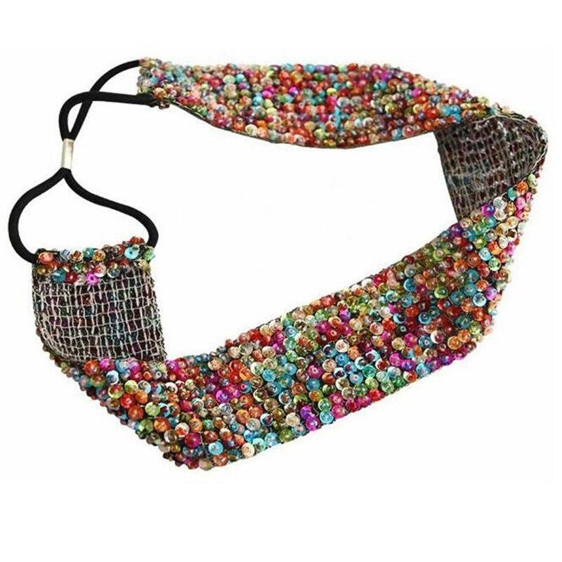 Metting Joura Multiple Sequin Beads Headband Vintage Handmade Braided Hairband Wide Elastic Headband For Women Hair Accessories