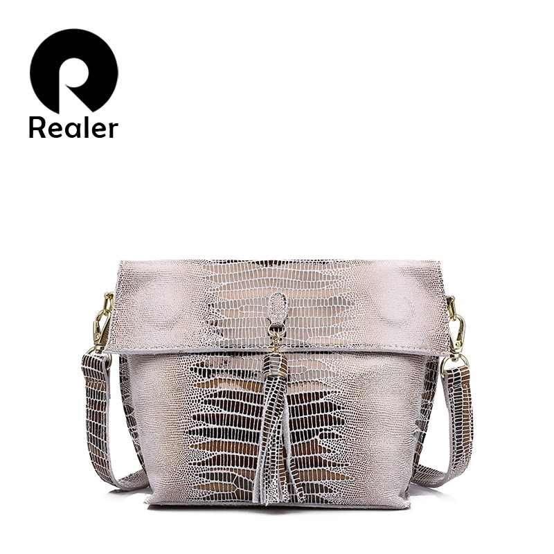 REALER women shoulder messenger bags genuine leather crossbody bag ladies small handbags with tassel female leather bag purse