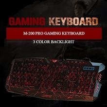 Tri-Color Backlit Computer Gaming Keyboard Teclado USB Powered Full N-Key Game Keyboard for Desktop Laptop Russian sticker