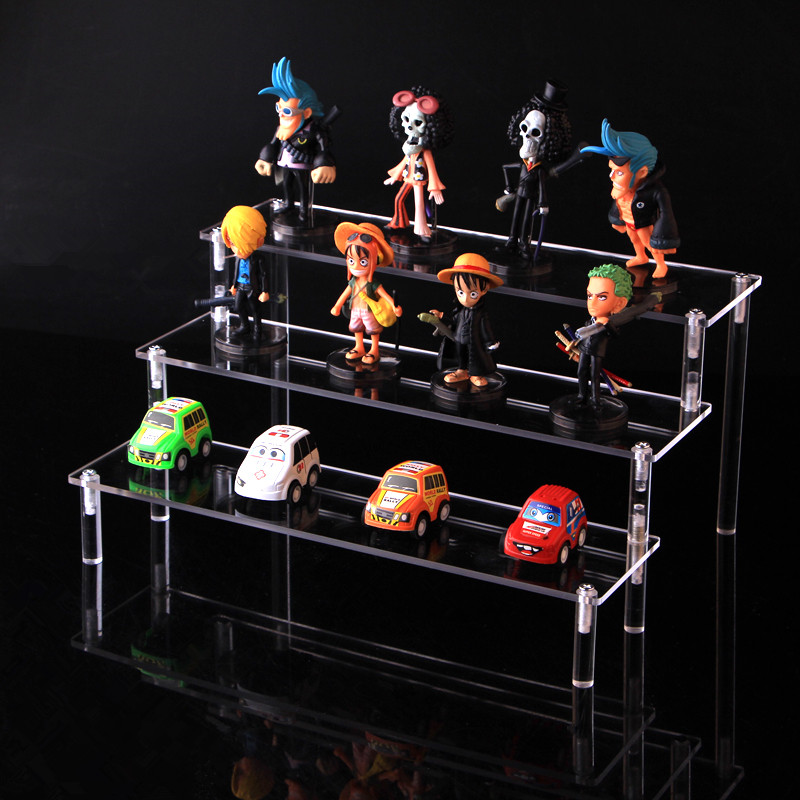 Clear Acrylic Cosmetics Storage Rack Detachable Cartoon Character Ladder Frame Holder Toy Car Model Purse Perfume Display Stand