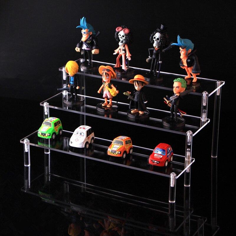 Estante de almacenamiento de cosméticos de acrílico transparente desmontable personaje de dibujos animados escalera soporte de marco de juguete modelo de coche monedero soporte de exhibición de perfume