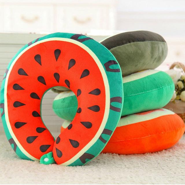 Frutas Em Forma de U Travesseiro Travesseiros Almofada 4 Cores Dormir Pelúcia para o Resto Do Pescoço Proteger Almofadas Escritório de Brinquedo de Pelúcia Brinquedos Para senhora