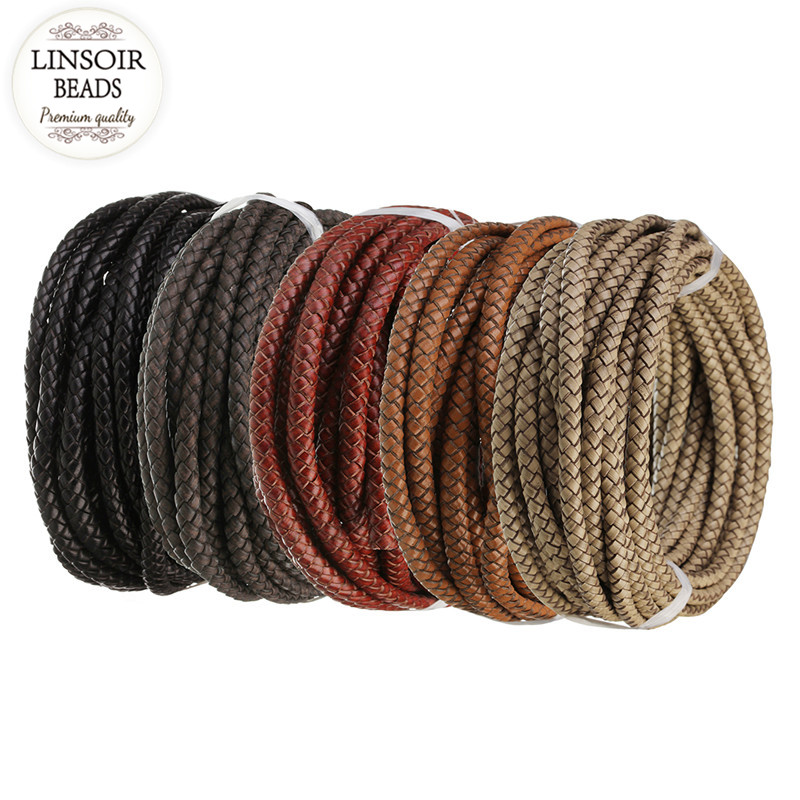 LINSOIR 1m/lot 6mm Genuine Braided Leather Cord Rope Fit Necklaces Bracelets Findings Leather Thread DIY Jewelry Making F5509 2pcs 316 stainless steel jewelry connector leather clasps for diy leather cord necklaces bracelets jewelry making