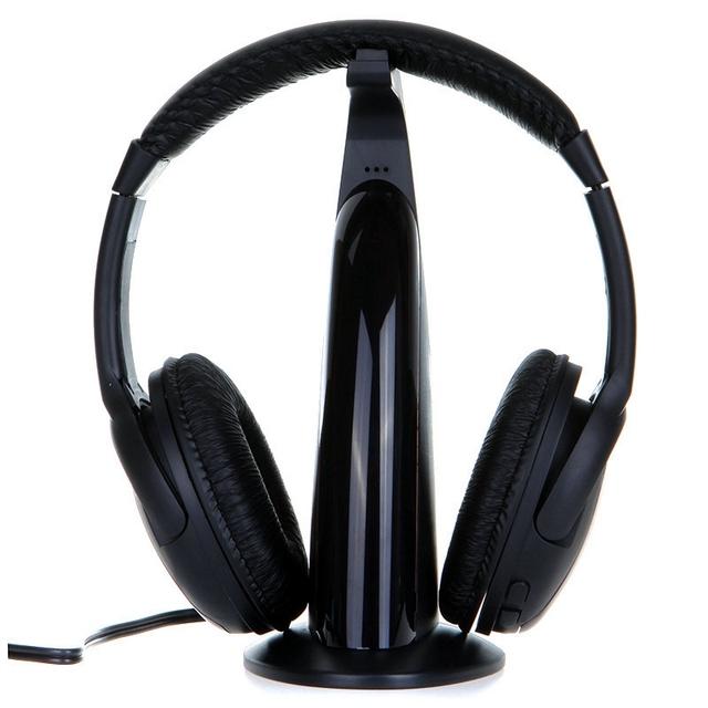 Nuevo Llegado Venta Caliente Negro 5in1 Auriculares Inalámbricos Auriculares Auriculares de Alta Fidelidad Del Monitor FM DJ MIC para PC TV DVD Audio Chating Voz Móvil