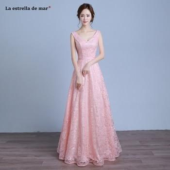 Robe demoiselle d'honneur pour femme2019 new sexy V neck lace ALine simple pink bridesmaid dresses long cheap wedding party gown