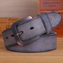 Vintage Riemen Voor Mens Luxe 100% Echte Hoge Kwaliteit Volnerf Lederen 2020 Jeans Cowboy Casual 3.8 Cm Grijs 125Cm 130