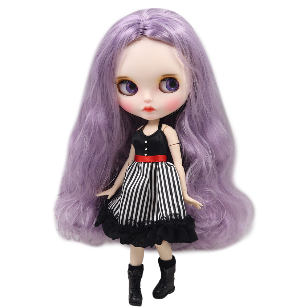 ICY Nude Blyth Doll For Series No BL1049 Purple hair color Carved lips Matte face customized