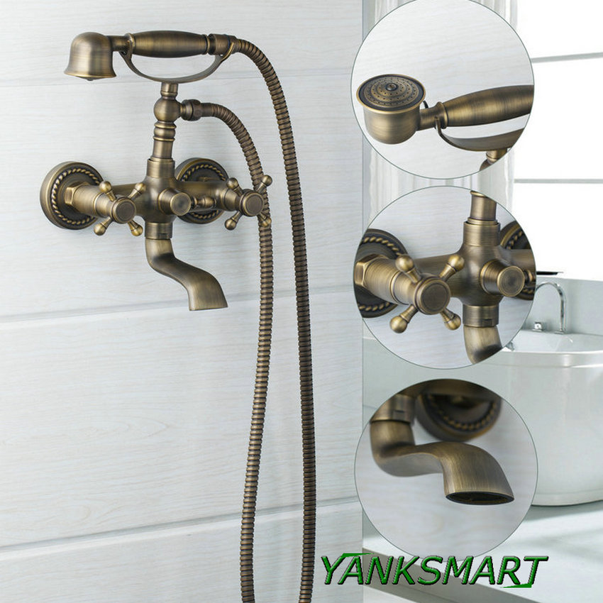 YANKSMART Antique Brass bathtub wall mount shower sprayer + control ...
