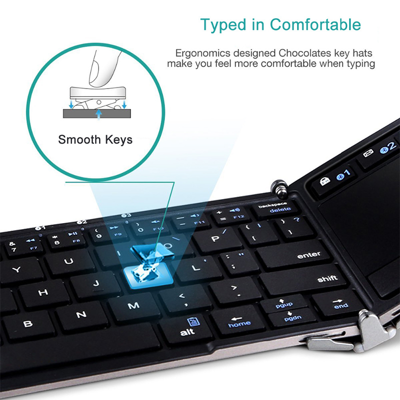3 Folding Keyboard with touchpad and stand