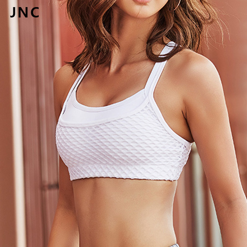 2017 New Cute Women's Grid Sports Bra With Beautiful Back Criss Cross Gym Yoga Mesh Patchwork Women Tank Crop Tops Bra 5 colors