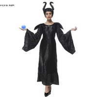 M XXL Woman Black Maleficent Costumes Halloween Sorceress Witch Queen Cosplays Purim Carnival Easter Bar Masquerade party dress