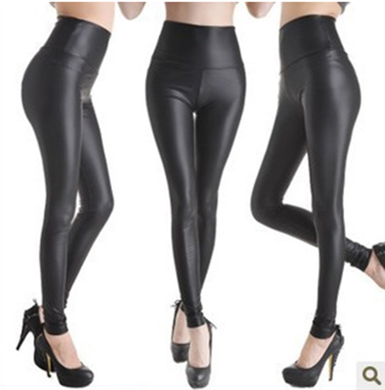 2016 New Women leggins Faux Leather Leggings woman Fashion High waist Stretch Pencil legging Pants ladies Leggings G0525