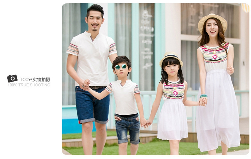 HTB1t450fPnD8KJjSspbq6zbEXXaK - Summer Family Matching Outfits Ethnic Style Mother Daughter Beach Dresses Father and Son White T-shirt Family Clothing Sets