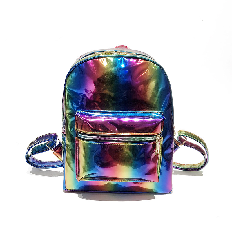 2018 Women Colorful Laser PU Laptop Backpack Stripe Shoulder Bag Girls Schoolbag Hologra ...