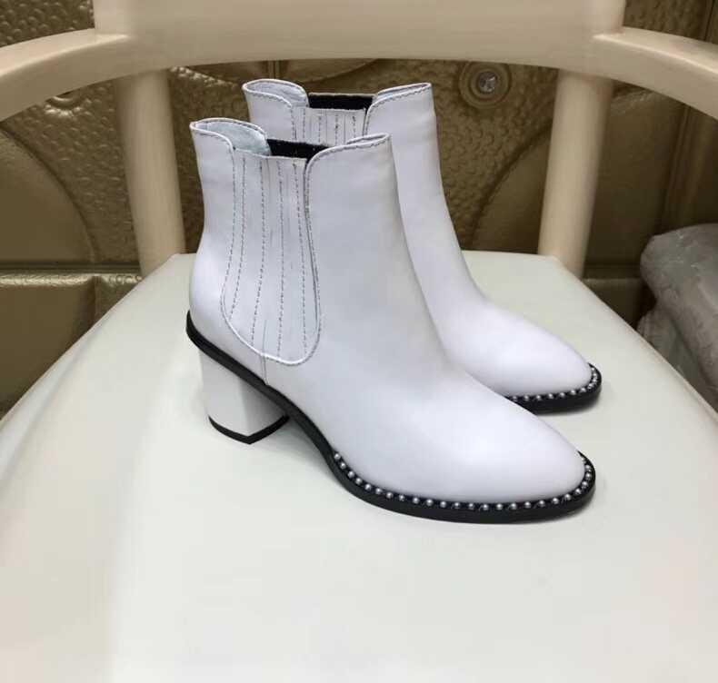 New Perle 2018 Bottes Noir De Épais blanc Confortable Et Rayé En Simple Joker Cuir Automne Martin Casual Chaussons Femmes tt6H4