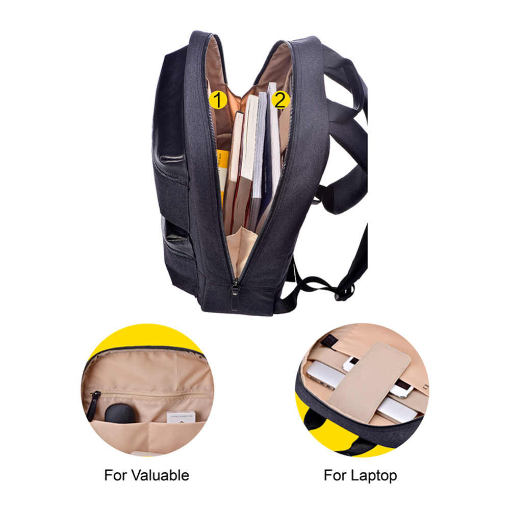 Mochila de negocios para ordenador portátil NINETYGO 90FUN, mochila impermeable multiusos, mochila de 15 pulgadas para ordenador portátil, ala de cuero para hombres, viajes universitarios