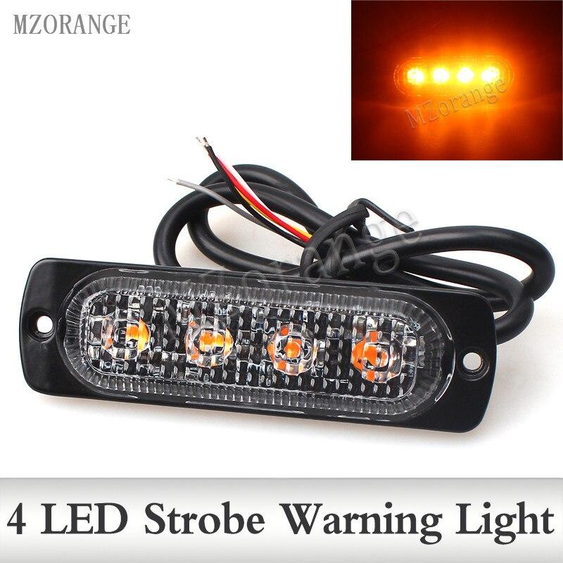 12V 24V 4 Led Strobe Warning Light Strobe Grille Flashing Lightbar Truck Car Beacon font b
