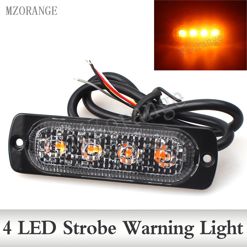 12V-24V 4Led Strobe Police Warning Light Strobe Grille Flashing Lightbar Truck Car Beacon Lamp Amber Red Blue Traffic light 2pcs 12v 24v 4 led police flashing warning light red blue amber white emergency vehicle strobe lights car beacon traffic light