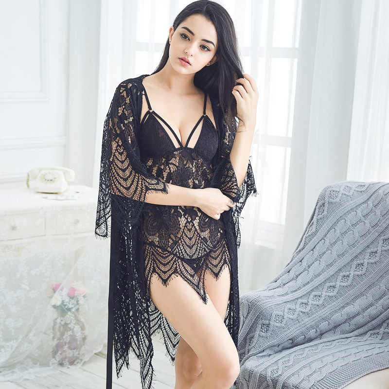 Freshing Summer 3 Pcs Eyelashes Lace Women Robe+Nightdress+G-String Sets  Three 2ac8917c6