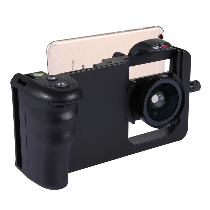 imágenes para Universal 6.0 ''Smartphone Estabilizador Rig Grip Profesional 0.45X Gran Angular Macro Lente Teléfono Titular de Montaje de Vídeo de Steadicam