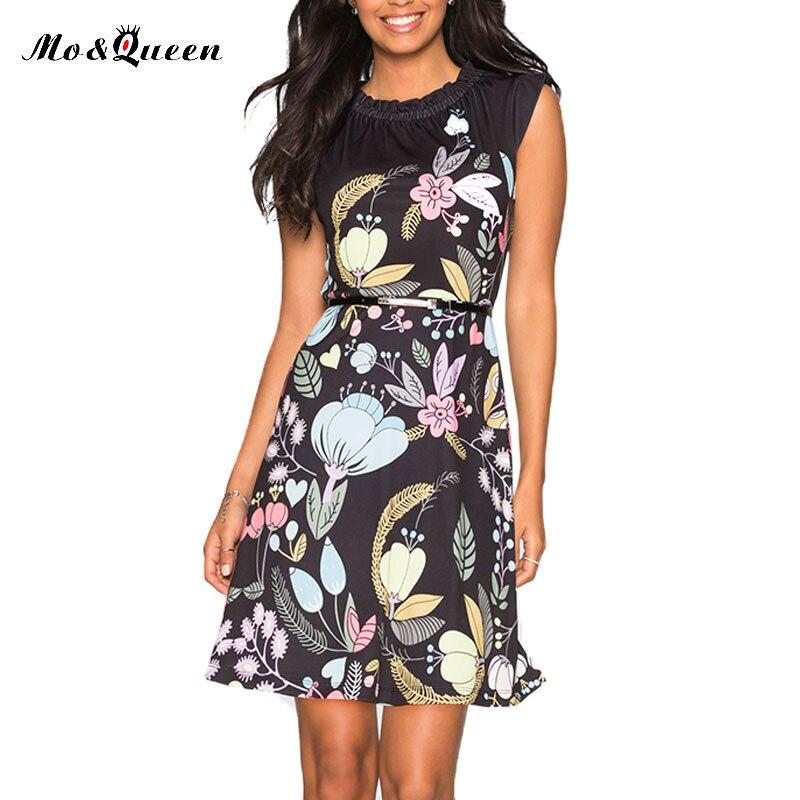 Moqueen marca summer dress 2017 moda casual impresa flor oficina dress mujeres d