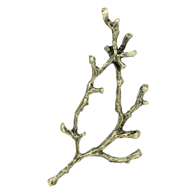 Zinc Metal Alloy Connectors Findings Branch Antique Bronze Branch Pattern Color Plated 5cm-6cm X 26mm-28mm, 2 PCs New