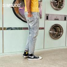 Мужские облегающие джинсы SIMWOOD, джинсовые брюки с полоской вставкой сбоку, 2019, осенне зимние штаны из денима длиной до щико