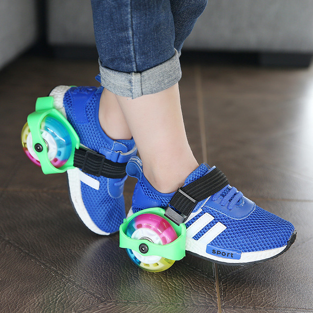 4 Running 2 Kids Full Pu For Flash Led Shoes Wheels L5jqc4A3R