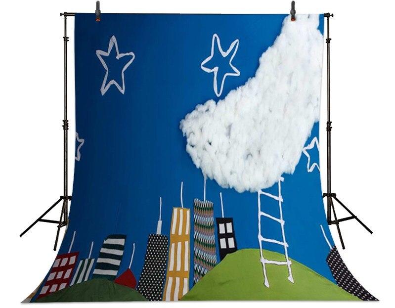 Cartoon Blue Sky Clouds Moon Star Backgrounds Vinyl cloth High quality Computer printed newborns backdrop